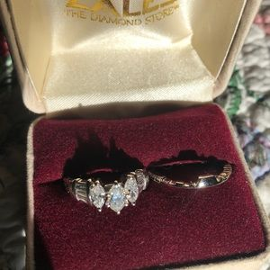 Diamond Wedding Set/ Past-Present-Future Ring